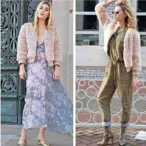 Anthropologie Elevenses Pink Faux Fur Jacket